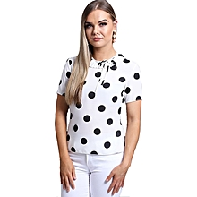 Polka Pleated Frill Short Sleeve Blouse