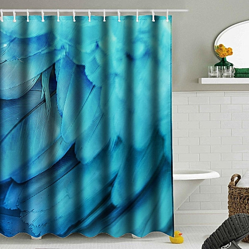 Polyester Waterproof Feather Bathroom Printed Shower Curtain W 12 Hook