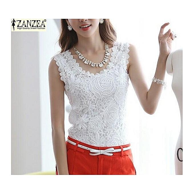 e705108930ec69 ZANZEA Plus Size S-4XL Womens Lace Tank Top Sleeveless T-shirt Vest Blouse