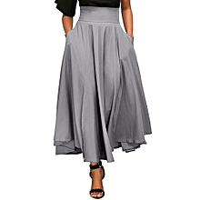 Xiuxingzi_Women High Waist Pleated A Line Long Skirt Front Slit Belted Maxi Skirt