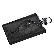 Men Leather Wallet Car Key Chain Holder 6 Ring Pouch Case BK