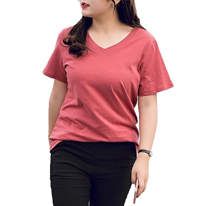 f587b9a11fc Buy Fashion Plus Size Basic Women V-Neck Short Sleeve T-shirt   Best ...