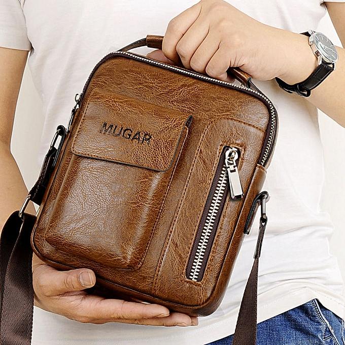 ecb5170341e6 Casual Vintage Messenger Bag Men Shoulder bags Pu Leather Crossbody Bags  For Men Bags Retro Zipper Man Business Handbags(BLACK BIG)