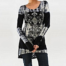 Hot Sale Womens Rock Style African Print Shirt Long Sleeve Top High Low Hem Tunics Blouse-gray