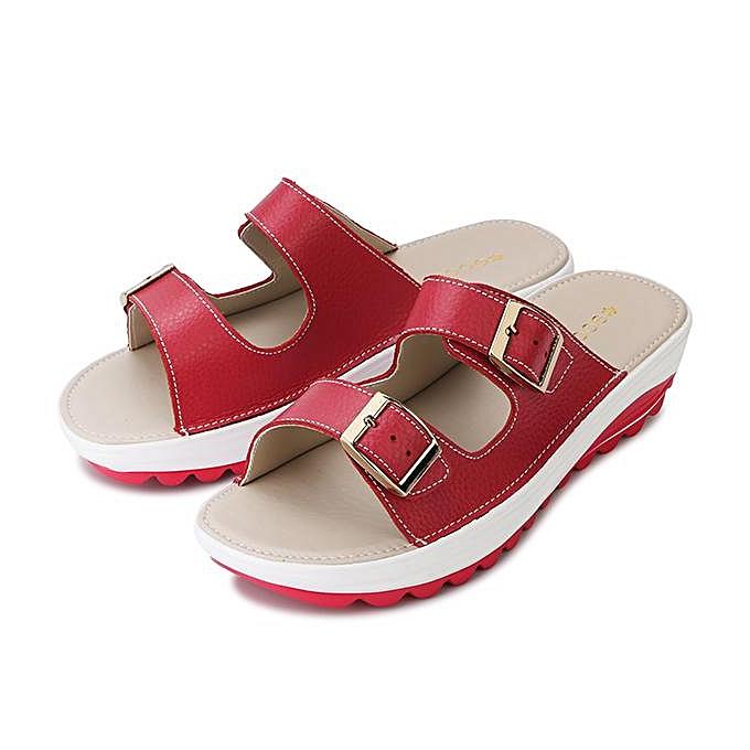 5b5265937bbf Fashion Women Big Size Soft Leather Buckle Peep Toe Slippers Slip On Beach Platform  Sandals- ...