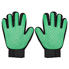 Five Finger Massage Glove Cat And Dog Cleaning Product Pet Comb Brush Green Left Hand