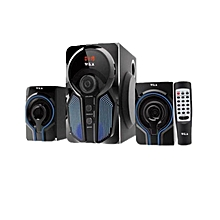 W5  2.1  MULTIMEDIA SPEAKER SYSTEM POWERFUL ENERGETIC 100% WOODEN MADE SUPER WOOFER - Black