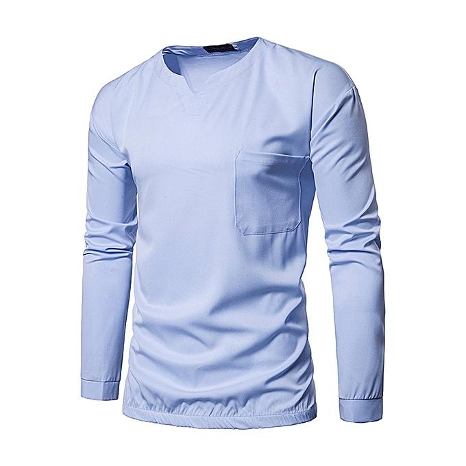 7bc7bc5378c Men s Leisure Pure Color Long Sleeved T-shirts Fashion V-neck Elastic Hem  Design