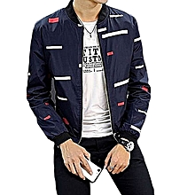 Large Size Men's Jacket Coat Shelves Baseball Casual Camouflage Floral Slim Pilot Jacket-blue