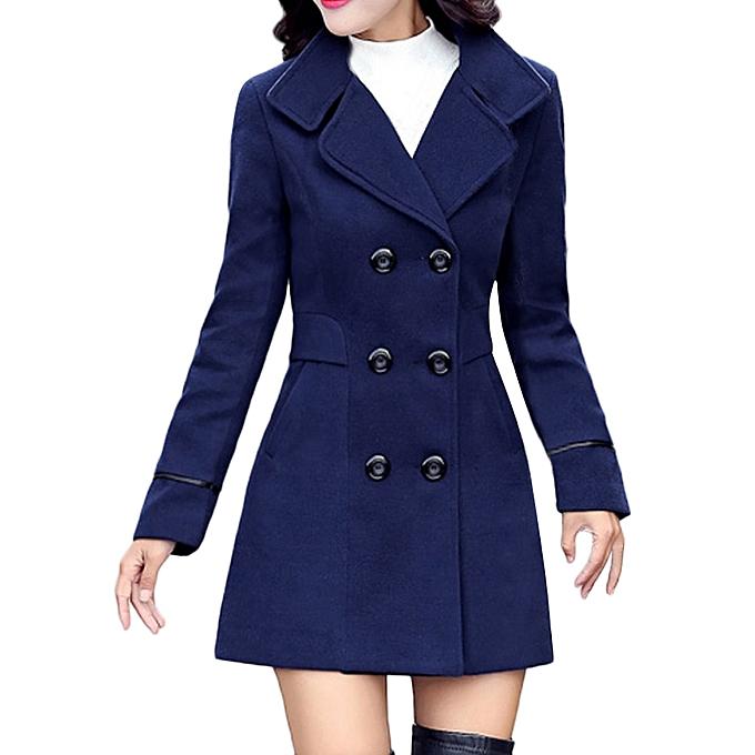 2b0f40edbf53 Hiamok Women Wool Double Breasted Coat Elegant Long Sleeve Work Office  Fashion Jacket