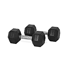 10KG GYM WEIGHT (Hexagon shaped) rubber dumbbells with silver-Pair