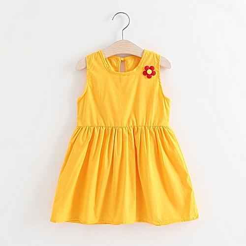 a8694065dc Allwin Baby Girls Flower Skirt Sleeveless Cotton Dress Summer Sundress  Casual Dress yellow 100 @ Best Price Online | Jumia Kenya