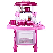 Kids Simulation Kitchen Cookware Pretend Role Play Toy With Music Light_PINK