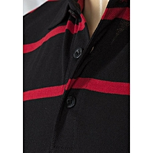 Men's Black and Red Striped Piqué Polo Shirt
