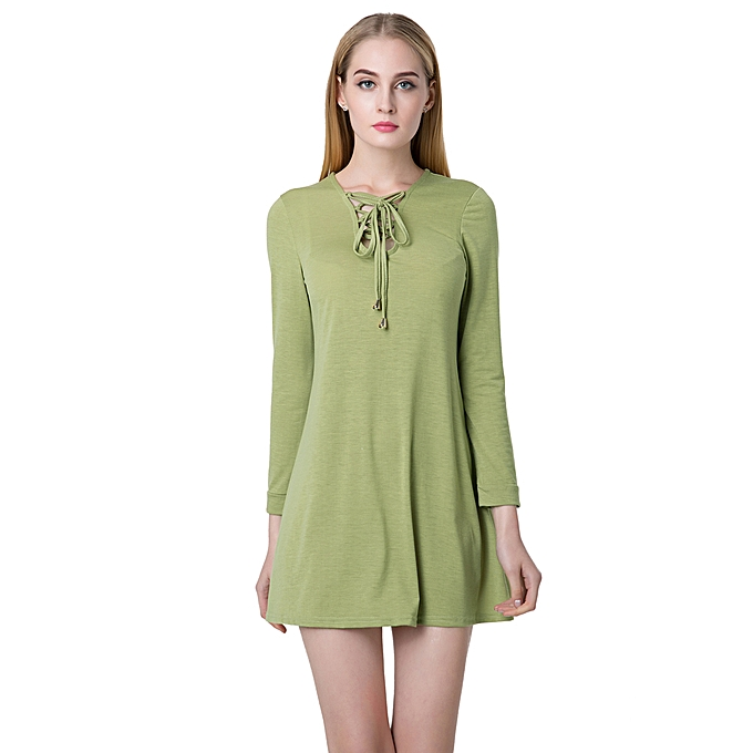 7887863ef7c6 Sexy Women Mini Dress V Neck Long Sleeve Lace Up Slim Casual Dress Green  Black