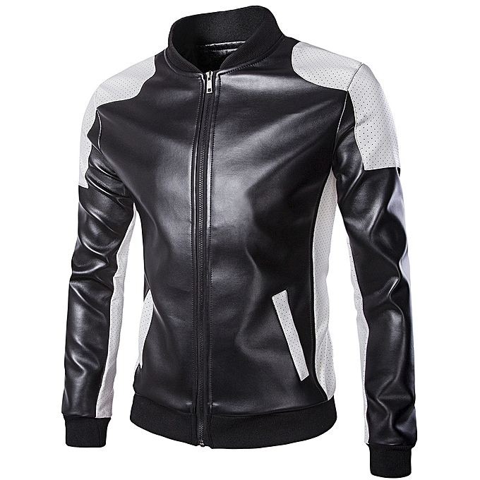 7d26606f7 Hiamok Men's Autumn Winter Casual Long Sleeve Stand Patchwork Leather Coat  Outwear