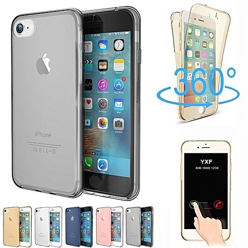 sports shoes 6013b 2895c Full Coverage 360 Degree Front And Back Protective Case Shockproof TPU Gel  Transparent Clear Cover For IPhone 6 Plus/6s Plus 5.5 Inches 285602 (Black)