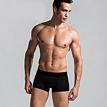 Men Male Boxer Underwear Shorts Underpants Fashion Sexy Stretchable Briefs-Black