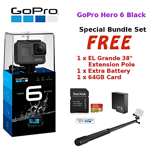 GoPro GoPro Hero 6 Black   Hero6 Black Action Camera  +64GB+Battery+Grande38   BDZ f04fbb77f