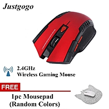 Buy 1 Free 1 2.4Ghz Mini Portable Wireless Optical Gaming Mouse Red