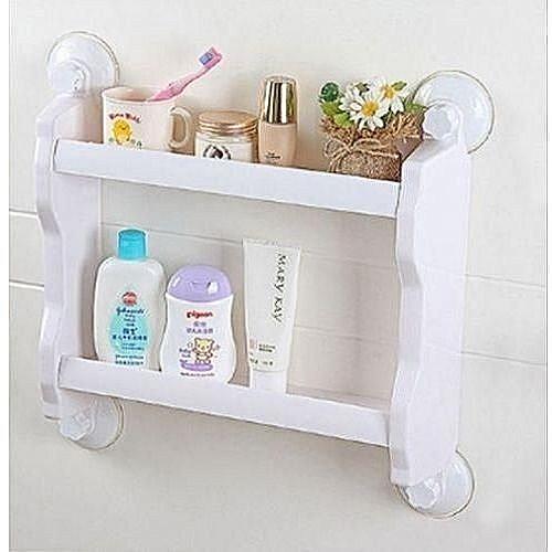 2-Layer Bathroom Organiser & Shampoo Holder - White