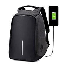 Anti-theft USB Charging Port laptop Backpack -Black