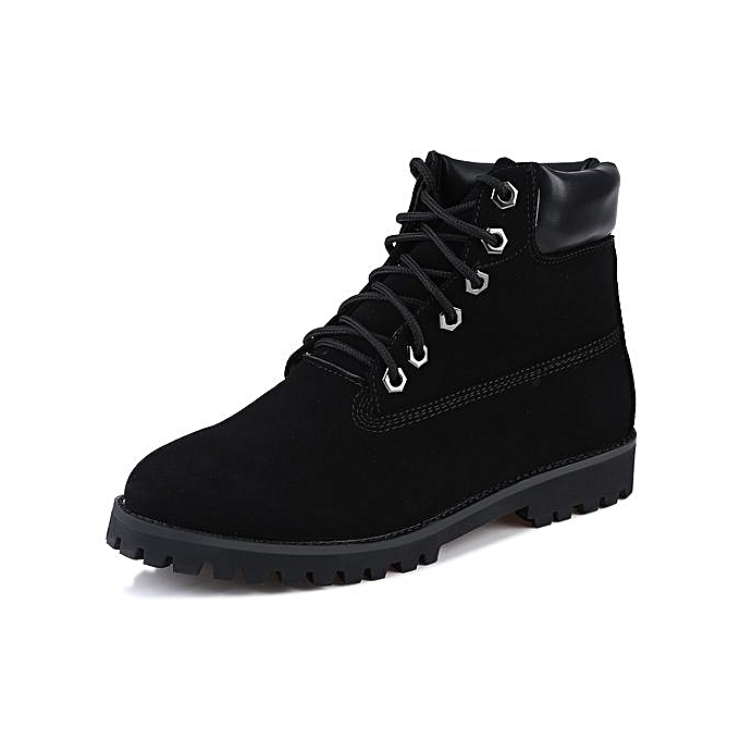 Fashion Fashionable Punk Solid Color Round Toe Lace Up Ankle Boots
