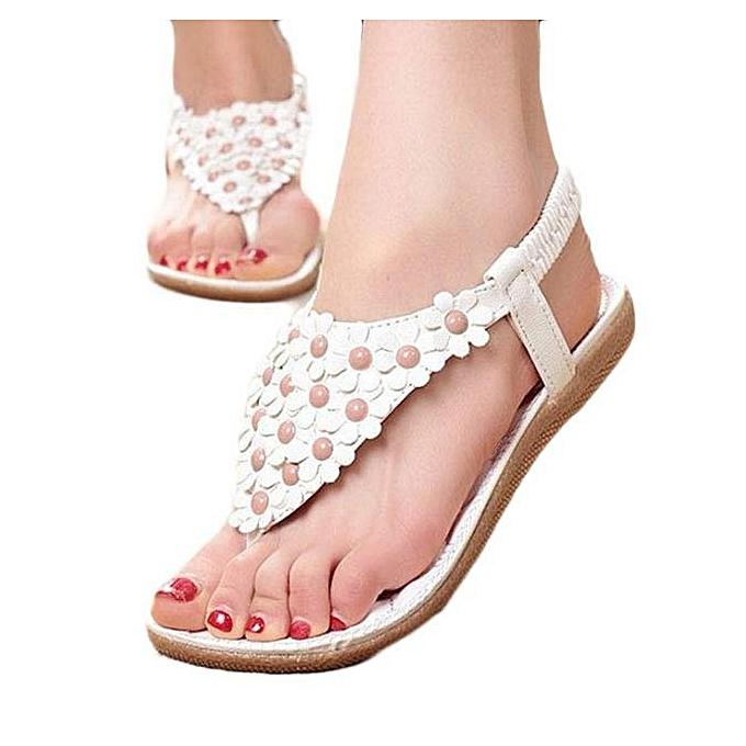 e4d30334577e Summer Bohemia Sweet Beaded Sandals Clip Toe Sandals Beach Shoes WH 35 -  White - 8