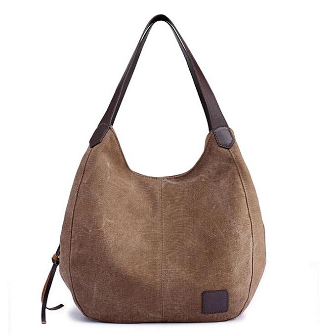 5ed5ad45f4 Women Vintage Ladies Large Canvas Handbag Travel Shoulder Bag Casual Tote  Purse  Brown