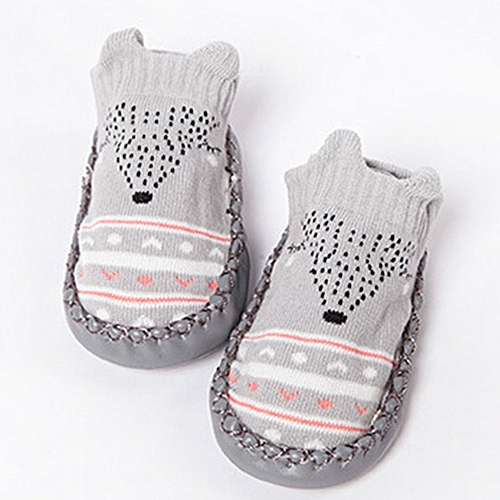 Cartoon baby skid proof Leather Sole Shoes socks Gray 13cm