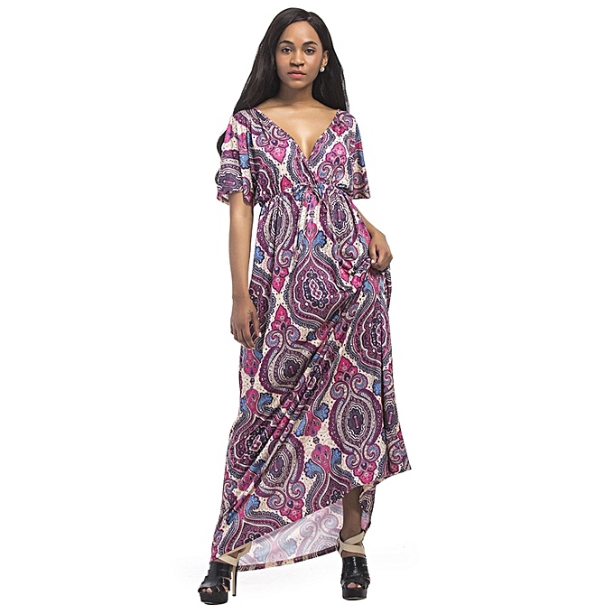 0ae9f48fc834 Vintage Women Plus Size Maxi Dress Geometric Print Plunge V-Neck Short  Sleeves Bohemian Long
