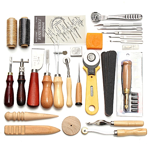 4804e16c08564 Generic 37Pcs Leather Craft Tools Kit Hand Sewing Stitching Punch Carving  Work Saddle Leathercraft Accessories