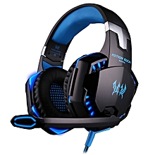 G2000 Over-ear Game Gaming Headphone Headset Earphone Headband With Mic Stereo B LED Light For PC Gamer,Cable Length: About 2.2m(Blue + Black)