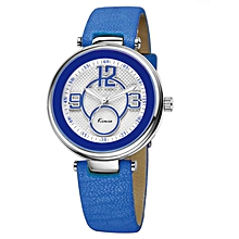 Round Dial Slim Leather Watch
