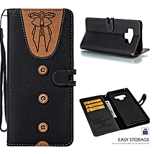 Galaxy Note 9 Case,Cute Lovely Style Premium Jeans Denim Splice Hit Color [Butterfly Knot] Pattern PU Leather +Soft TPU Wallet Stand Flip Case For Samsung Galaxy Note 9 6.4""