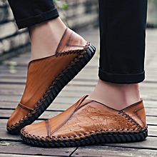 Fashion Men Hand Stitching Stylish Cap-toes Vintage Flat Slip On Casual Loafers gold