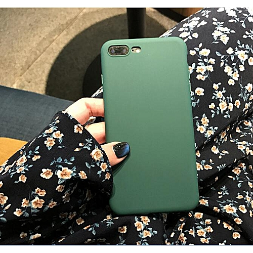 new concept 2c62d cd82b for iPhone 8 Plus case Candy Color Matte Phone Case iPhone iPhone Simple  Soft Cases Back Cover-Army green