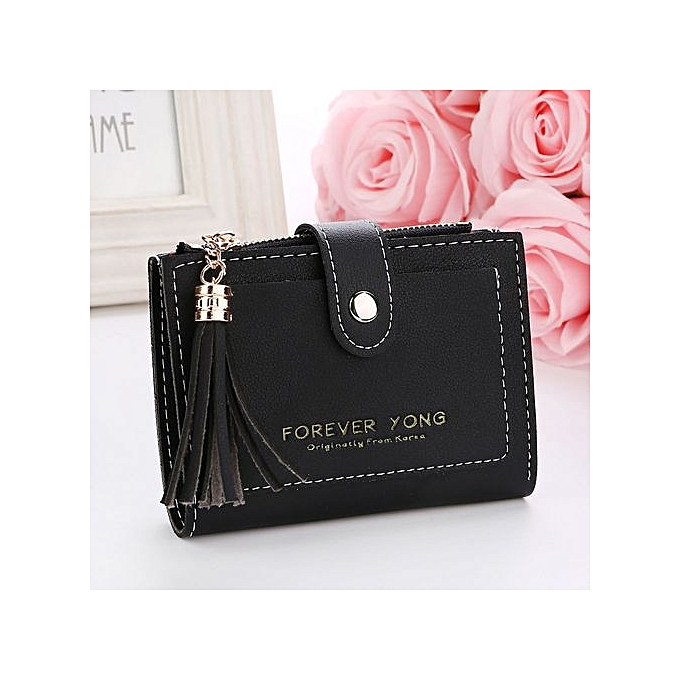 2a659b816b8 Xingbiaocao Women Simple Retro Letters Short Wallet Coin Purse Card Holders  Handbag BK -Black
