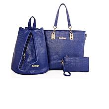 Blue Shoulder Tote Handbag Set