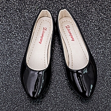 Women Lady Flat Pointed Toe Leather Slip On Casual Loafers Shoes Black/36-Black-CN SIZE