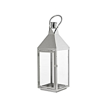 Thea Candle Lantern - Metal, Silver