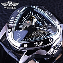 Winner GMT996 Creative Racing Design Triangle Design Silver Skeleton Dial Mens Watch Top Brand Luxury Automatic Mechanical Watch Clock WWD