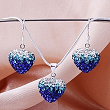 MBox Crystal Shamballa Bling Jewelry Heart-shaped Gradients Necklace Earrings Sets - Dark Blue