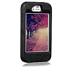 Hybrid Rubber Rugged Combo Matte Case Hard Cover Protect For Iphone 4/4S-Black