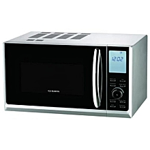25L Digital Microwave with Grill and Child Safety Lock - With Glass Turntable - Silver