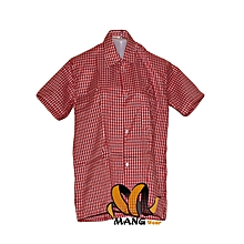 2 Short Sleeve Shirts- Red & White Checked