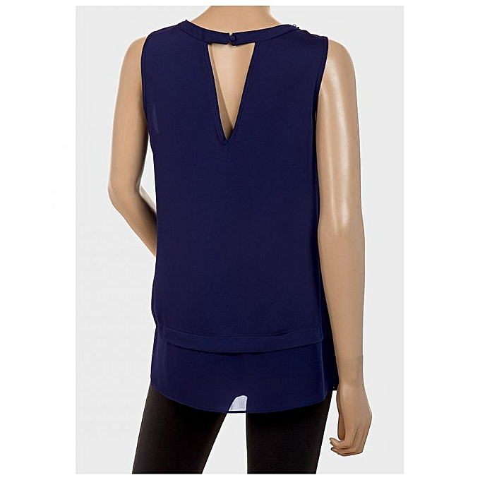 2743b25ba702a THE COLLECTION DEBENHAMS Royal Blue Plus Size Chiffon Top with ...