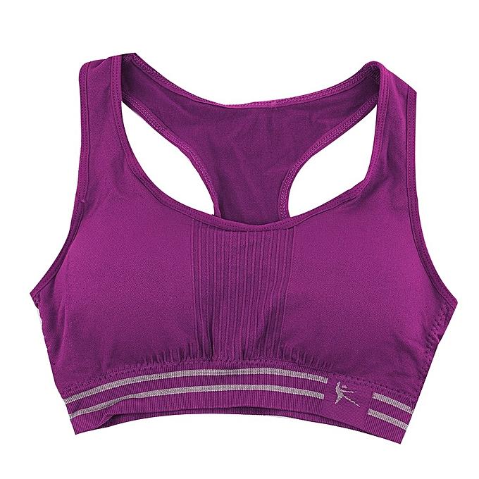 cce9b7b2eeef0 Women Seamless Racerback Sports Bra Top Yoga Fitness Padded Stretch Workout -Purple
