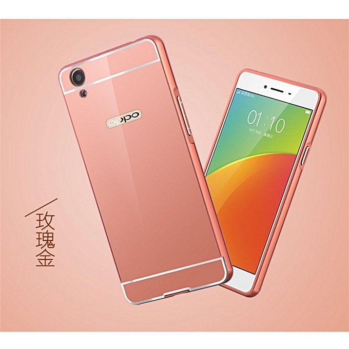 Oppo F1 Plus Mirror Metal Bumper Case Cover Casing 521291 (Rose Gold)