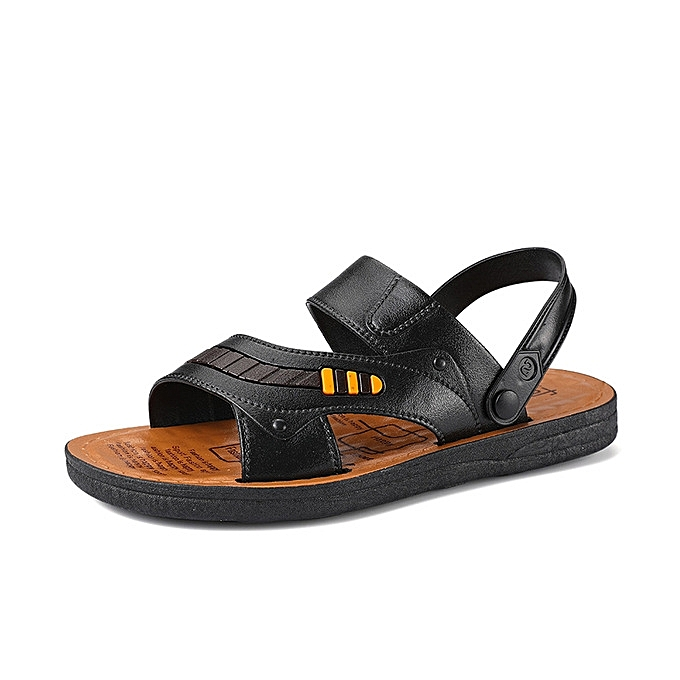f3b1baed072 Nice summer breathable leather sandals casual sandals beach shoes men  slippers comfort simple sandals-black